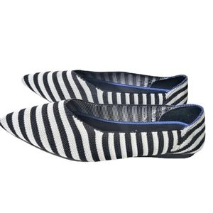 Seven7 Nautical Striped Navy Pointed Toe Flats 9